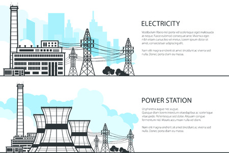 Set of Banners with Electric Power Transmission, Nuclear Reactor and Power Lines, Vector Illustration