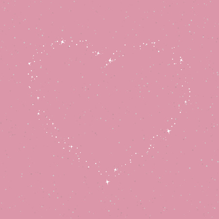 The Heart of the Stars in the Sky, Sky in the color of Purple Rose with Stars for Loved Ones, Happy Valentines Day , Vector Illustration