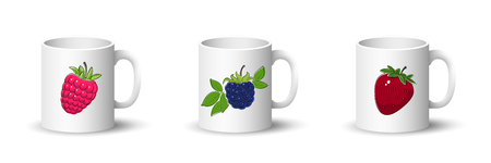 Cups with Raspberries , Blackberry and Strawberry , Front View on Mugs with Berries Isolated on a White Background, Vector Illustration Ilustrace