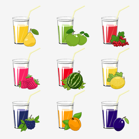 Set of Fresh Fruit and Berries Juices, Glass with Juice and a Straw Isolated on a White Background , Summer Time, Vector Illustration