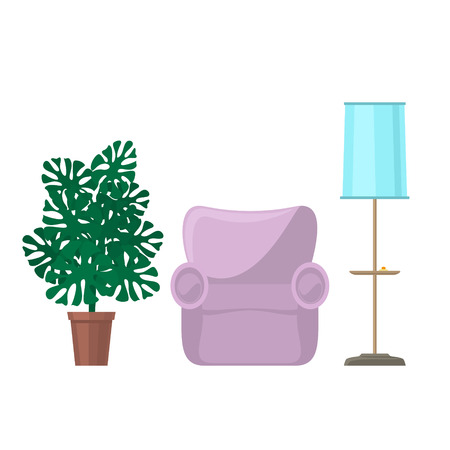 Pink soft cozy armchair and floor lamp with blue lamp shade and monstera houseplant, furniture for the living room isolated on white background, vector illustration