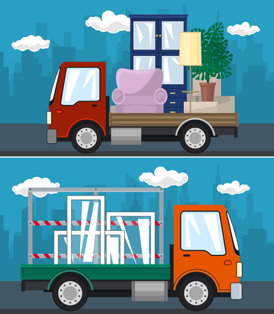 Set of Transportation Services and Logistics, Lorry with Furniture and Small Truck with Windows Drive on the Road, Shipping and Freight of Goods, Vector Illustration