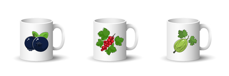 Cups with Black Blueberries , Redcurrant and Gooseberry , Front View on Mugs with Berries Isolated on a White Background, Vector Illustration