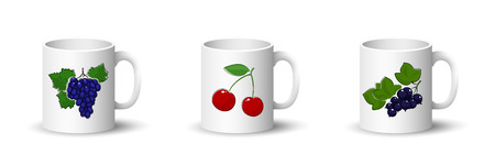 Cups with Grapes , Sweet Cherry and Blackcurrant , Front View on Mugs with Berries Isolated on a White Background, Vector Illustration