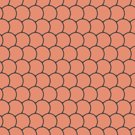 Orange seamless pattern with round tiles , fairy mermaid tail or scales of the dragon or fish scales , vector illustration Ilustrace