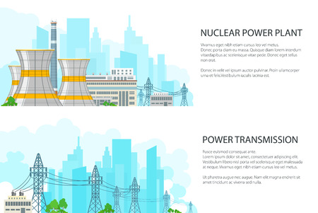 Set of White Banners with Electric Transmission, Nuclear Reactors and High Voltage Power Lines Supplies Electricity to City, Vector Illustration Ilustrace