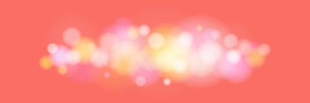 Soft Bright Abstract Bokeh Banner , Colored Lights on Coral Color Background, Defocused Lights Isolated, Vector Illustration
