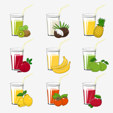 Set of Fresh Tropical Fruit Juices, Glass with Juice and a Straw Isolated on a White Background , Summer Time, Vector Illustration Ilustração