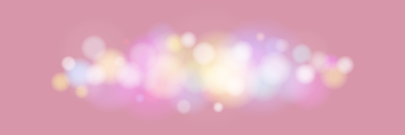 Soft Bright Abstract Bokeh Banner , Colored Lights on Purple Rose Background, Defocused Lights Isolated, Vector Illustration