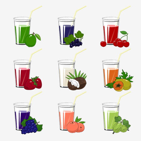 Set of Fresh Citrus Fruit and Berries Juices, Glass with Juice and a Straw Isolated on a White Background , Summer Time, Vector Illustration