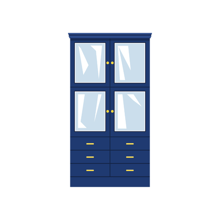 Blue closet with glass doors and drawers isolated on white background, for clothes or dishes, vector illustration Illustration
