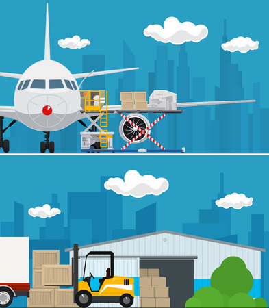 Set of Air Cargo and Storage Services, Airplane with Autoloader at the Airport , Warehouse, Forklift Unloads Boxes from a Covered Truck, Shipping and Freight of Goods, Vector Illustration