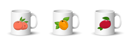 Cups with Peach , Apricot and Tropical Fruit Mango , Front View on Mugs Isolated on a White Background, Vector Illustration Ilustrace