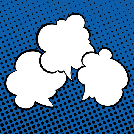 Three Speech Bubbles on Dark Blue Background with Black Dots , Conversation in Retro Style on Pop Art Background, Vector Illustration