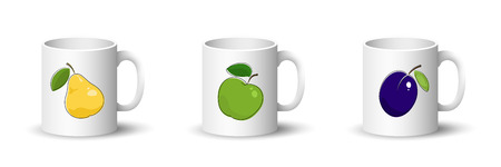 Cups with Yellow Pear , Green Apple and Purple Plum , Front View on Mugs Isolated on a White Background, Vector Illustration