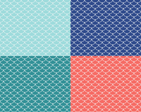 Set of fish scales seamless patterns, colored abstract backgrounds, vector illustration
