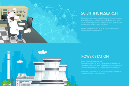 Set of Banners with Power Plant, People near the Control Panel , Nuclear Reactor and Power Lines on the Background of the City, Scientific Research, Vector Illustration