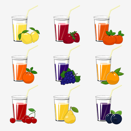 Set of Fresh Fruit and Berries Juices, Glass with Citrus Juice and a Straw Isolated on a White Background , Summer Time, Vector Illustration Ilustrace