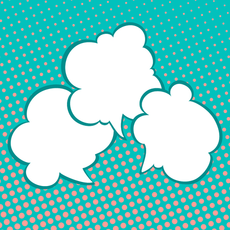 Three Speech Bubbles on Pastel Green Background with Coral Color Dots , Conversation in Retro Style on Pop Art Background, Vector Illustration Ilustrace