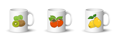 Cups with Kiwifruit ,Orange Persimmon and Quince , Front View on Mugs Isolated on a White Background, Vector Illustration