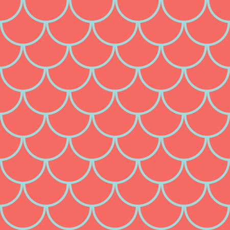 Fish scales seamless pattern, coral colored marine background, vector illustration Ilustrace