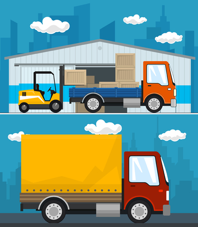 Set of Cargo Services and Storage, Warehouse and Forklift Truck and Lorry with Boxes , Small Covered Truck , Shipping and Freight of Goods, Vector Illustration