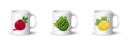 Cups with Pomegranate , Berry Watermelon and Melon , Front View on Mugs Isolated on a White Background, Vector Illustration Ilustrace