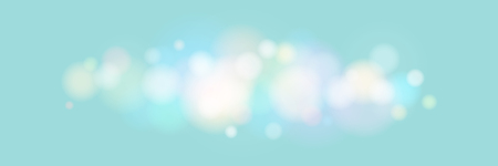 Soft Bright Abstract Bokeh Banner , Colored Lights on Turquoise Background, Defocused Lights Isolated, Vector Illustration