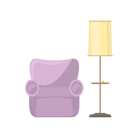 Pink soft cozy armchair and floor lamp with yellow lamp shade isolated on white background, vector illustration