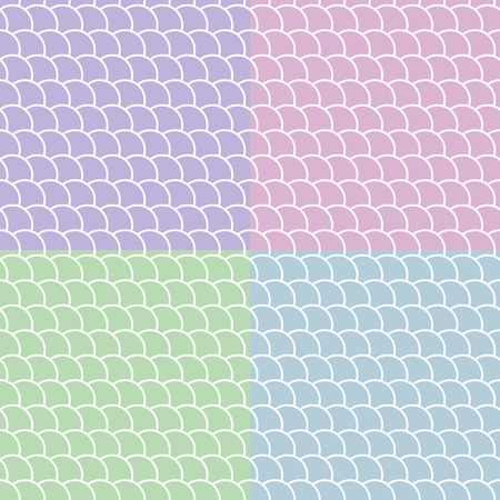 Set of seamless patterns in the shape of a wave, marine colored backgrounds, vector illustration