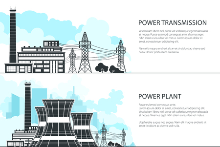 Set of Banners with Electric Power Transmission, Nuclear Reactors and High Voltage Power Lines Supplies Electricity to City, Vector Illustration Ilustrace