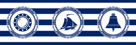 Banner with Sea Emblems on Seamless Striped Marine Background, Porthole and Sailing Vessel and Ship Bell , Vector Illustration Ilustrace