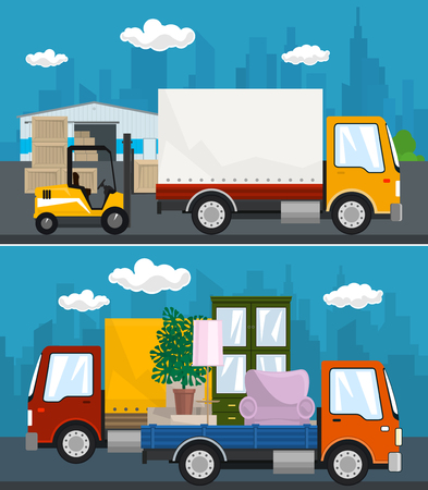 Set of Transportation and Storage Services, Warehouse and Forklift Truck ,Covered Small Truck and Lorry with Furniture Drive on the Road , Shipping and Freight of Goods, Vector Illustration Ilustrace