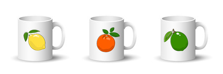Cups with Lemon , Orange and Lime , Front View on Mugs with Citrus Fruit Isolated on a White Background, Vector Illustration Ilustrace