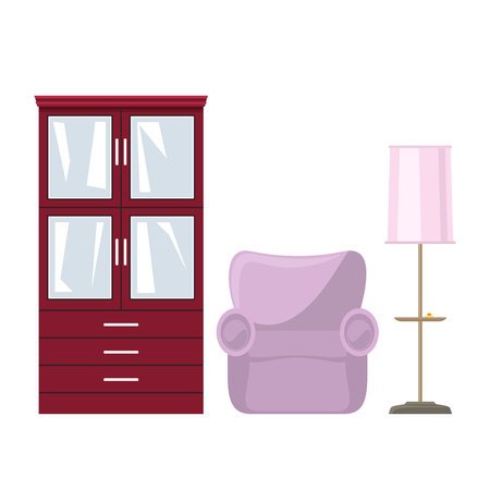 Red closet with glass doors and drawers for clothes or dishes, pink soft armchair and floor lamp with pink lamp shade , vector illustration