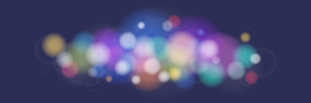 Soft Bright Abstract Bokeh Banner , Colored Lights on Purple Background, Defocused Lights Isolated, Vector Illustration