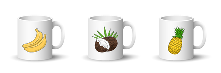 Cups with Banana, Coconut and Pineapple , Front View on Mugs with Tropical Fruit Isolated on a White Background, Vector Illustration Ilustrace