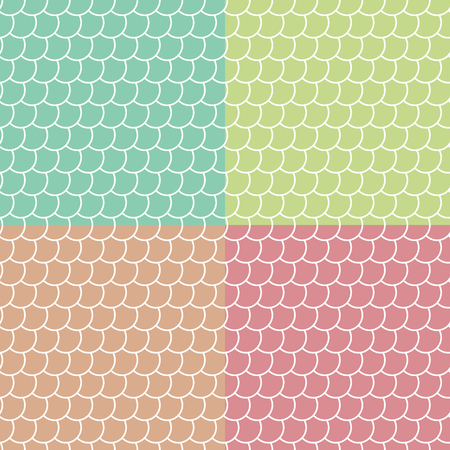 Set of colored fish scales seamless patterns , fairy mermaid tail or scales of the dragon , vector illustration