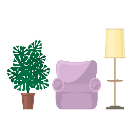 Pink soft cozy armchair and floor lamp with yellow lamp shade and monstera houseplant, furniture for the living room isolated on white background, vector illustration