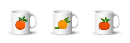 Cups with Orange , Grapefruit and Mandarin, Front View on Mugs with Citrus Fruit Isolated on a White Background, Vector Illustration Ilustrace