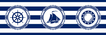 Banner with Sea Emblems on Seamless Striped Marine Background, Ships Wheel and Sailing Vessel and Porthole , Vector Illustration