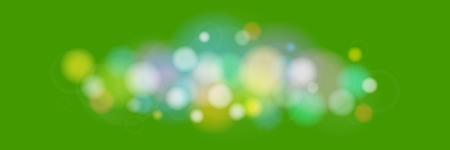 Soft Bright Abstract Bokeh Banner , Colored Lights on Green Background, Defocused Lights Isolated, Vector Illustration