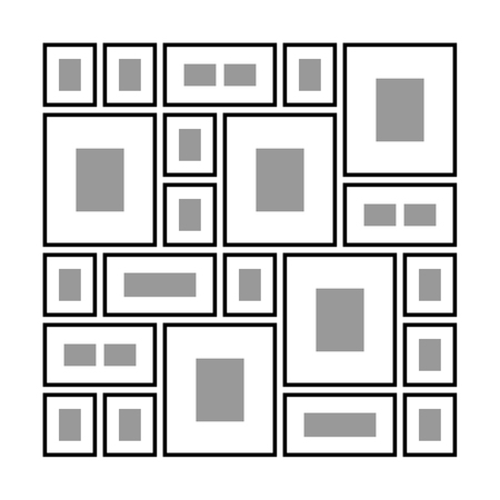 An Example of Arrangement of Frames on the Wall, Different Wall Decoration Frame for Pictures or Photos, Vector Illustration Ilustração