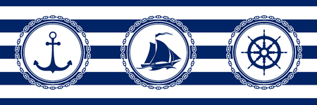 Banner with Sea Emblems on Seamless Striped Marine Background, Anchor and Sailing Vessel and Ships Wheel , Vector Illustration