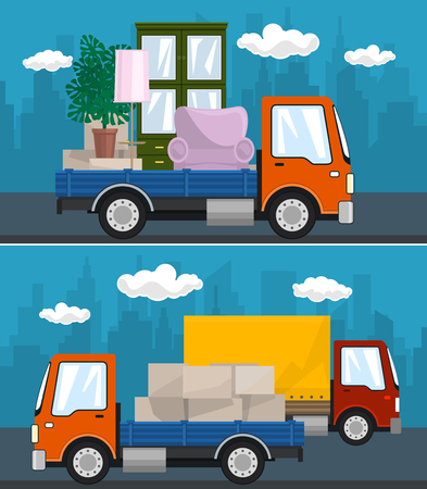 Set of Transportation Services and Logistics, Covered Truck and Small Cargo Van with Boxes Drive on the Road, Lorry with Furniture , Shipping and Freight of Goods, Vector Illustration