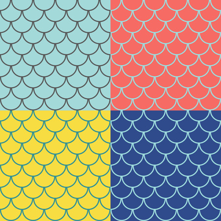 Set of fish scales seamless patterns, marine background, vector illustration Ilustrace