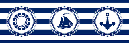 Banner with Sea Emblems on Seamless Striped Marine Background, Porthole and Sailing Vessel and Anchor , Vector Illustration Ilustrace