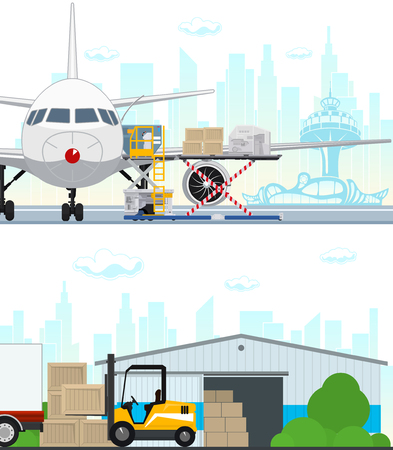 Set of Air Cargo and Storage Services, Airplane with Autoloader at the Airport , Warehouse, Yellow Forklift Unloads Boxes from a Covered Truck, Shipping and Freight of Goods, Vector Illustration