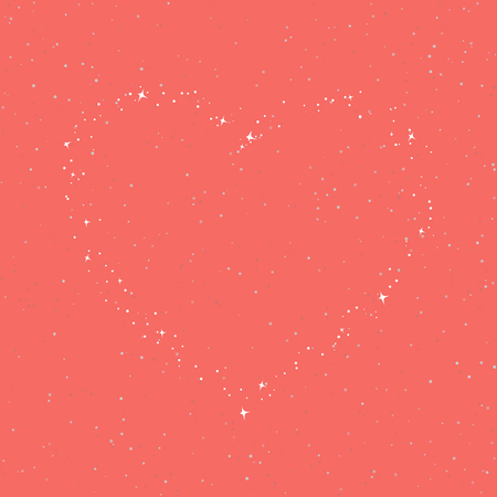 The Heart of the Stars in the Sky, Coral Color Sky with Stars for for Loved Ones, Happy Valentines Day , Vector Illustration Ilustração