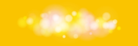 Soft Bright Abstract Bokeh Banner , Colored Lights on Yellow Background, Defocused Lights Isolated, Vector Illustration Ilustração